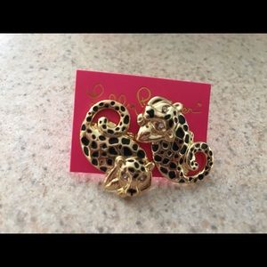Lily Pulitzer gold tone leopard earrings. New!